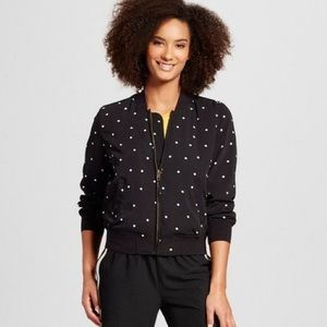 Who What Wear polka dot bomber